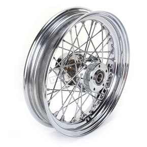 Front Chrome 16x3 40-Spoke Laced Wheel Assembly - 0203-0534