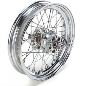 Rear Chrome 16x3 40-Spoke Laced Wheel Assembly - 0204-0423