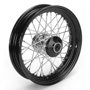 Paughco 16 in. x 3 in. Front Lace Black Powder-Coated 40-Spoke Wheel Assembly - 225-S40FB