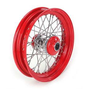 Paughco 16 in. x 3 in. Front Lace Red Powder-Coated 40-Spoke Wheel Assembly - 225-S40FR