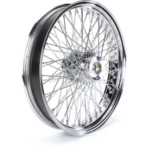 Paughco 21 in. x 3.5 in. Chrome 80-Spoke Front Wheel Assembly w/Round Spokes - 06-107
