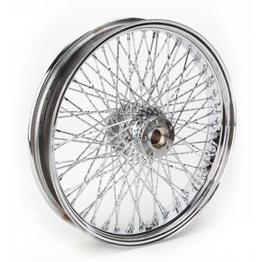 Paughco 21 in. x 3.5 in. Chrome 80-Spoke Front Wheel Assembly w/Twisted Spokes - 06-108
