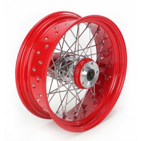 Paughco 16 in. x 5.5 in. Rear Lace Red Powder-Coated 40-Spoke Wheel Assembly - 226-S40RR