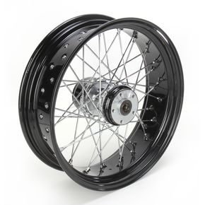 Paughco 18 in. x 5.5 in. Rear Lace Black Powder-Coated 40-Spoke Wheel Assembly - 228-S40RB