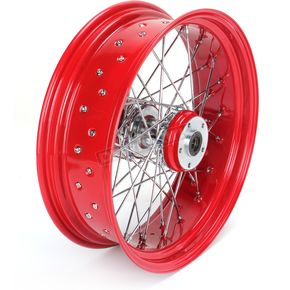 Paughco 18 in. x 5.5 in. Rear Lace Red Powder-Coated 40-Spoke Wheel Assembly - 228-S40RR