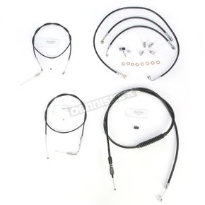 LA Choppers Black Vinyl Handlebar Cable and Brake Line Kit for Use w/15 in. - 17 in. Ape Hangers w/ABS - LA-8150KT-16B