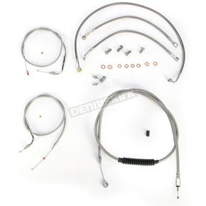 LA Choppers Stainless Braided Handlebar Cable and Brake Line Kit for Use w/OEM Handlebars - LA-8150KT-00