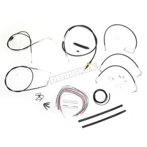 LA Choppers Black Vinyl Handlebar Cable and Brake Line Kit for Use w/Mini Ape Hangers - LA-8005KT2A-08B