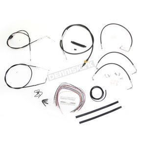 LA Choppers Black Vinyl Handlebar Cable and Brake Line Kit for Use w/12 in. - 14 in. Ape Hangers - LA-8005KT2A-13B