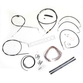 LA Choppers Black Vinyl Handlebar Cable and Brake Line Kit for Use w/18 in. - 20 in. Ape Hangers (w/o ABS) - LA-8005KT2B-19B