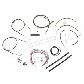 LA Choppers Black Vinyl Handlebar Cable and Brake Line Kit for Use w/Mini Ape Hangers (w/o ABS) - LA-8006KT2A-08B