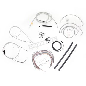 LA Choppers Stainless Braided Handlebar Cable and Brake Line Kit for Use w/12 in. - 14 in. Ape Hangers (w/o ABS) - LA-8006KT2A-13