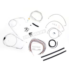 LA Choppers Stainless Braided Handlebar Cable and Brake Line Kit for Use w/15 in. - 17 in. Ape Hangers (w/o ABS) - LA-8006KT2A-16