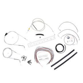 LA Choppers Stainless Braided Handlebar Cable and Brake Line Kit for Use w/18 in. - 20 in. Ape Hangers (w/o ABS) - LA-8006KT2A-19