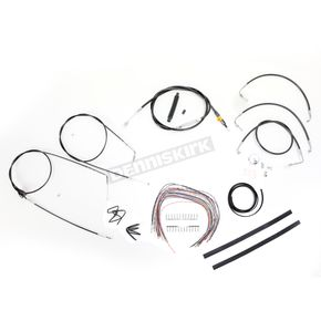 LA Choppers Black Vinyl Handlebar Cable and Brake Line Kit for Use w/18 in. - 20 in. Ape Hangers (w/o ABS) - LA-8006KT2A-19B