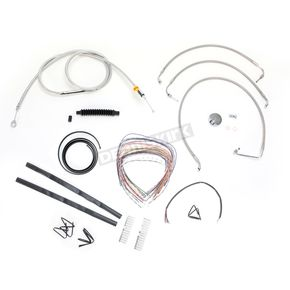 LA Choppers Stainless Braided Handlebar Cable and Brake Line Kit for Use w/Mini Ape Hangers (w/o ABS) - LA-8010KT2-08