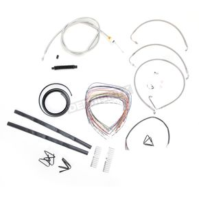 LA Choppers Stainless Braided Handlebar Cable and Brake Line Kit for Use w/12 in. - 14 in. Ape Hangers w/o ABS - LA-8010KT2-13