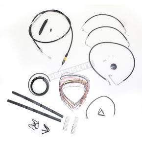 LA Choppers Black Vinyl Handlebar Cable and Brake Line Kit for Use w/18 in. - 20 in. Ape Hangers w/o ABS - LA-8010KT2-19B