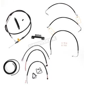 LA Choppers Black Vinyl Handlebar Cable and Brake Line Kit for Use w/Mini Ape Hangers w/o ABS - LA-8011KT2-08B
