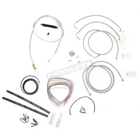 LA Choppers Stainless Braided Handlebar Cable and Brake Line Kit for Use w/Mini Ape Hangers w/ABS - LA-8050KT2-08