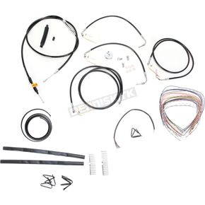 LA Choppers Black Vinyl Handlebar Cable and Brake Line Kit for Use w/15 in. - 17 in. Ape Hangers w/ABS - LA-8050KT2-16B