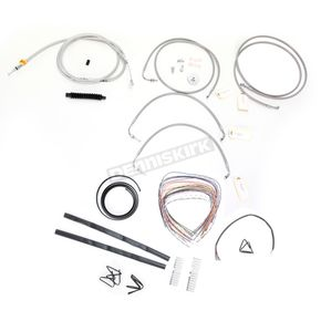 LA Choppers Stainless Braided Handlebar Cable and Brake Line Kit for Use w/18 in. - 20 in. Ape Hangers w/ABS - LA-8050KT2-19