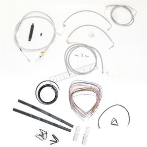 LA Choppers Stainless Braided Handlebar Cable and Brake Line Kit for Use w/12 in. - 14 in. Ape Hangers w/ABS - LA-8051KT2-13