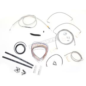 LA Choppers Stainless Braided Handlebar Cable and Brake Line Kit for Use w/15 in. - 17 in. Ape Hangers w/ABS - LA-8051KT2-16