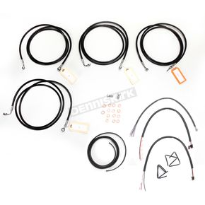 LA Choppers Black Vinyl Handlebar Cable and Brake Line Kit for Use w/15 in. - 17 in. Ape Hangers w/ABS - LA-8052KT2-16B