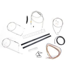 LA Choppers Stainless Braided Handlebar Cable and Brake Line Kit for Use w/Mini Ape Hangers w/o ABS - LA-8110KT2A-08