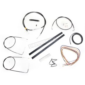 LA Choppers Black Vinyl Handlebar Cable and Brake Line Kit for Use w/12 in. - 14 in. Ape Hangers w/o ABS - LA-8110KT2A-13B