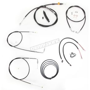 LA Choppers Black Vinyl Handlebar Cable and Brake Line Kit for Use w/18 in. - 20 in. Ape Hangers w/o ABS - LA-8110KT2B-19B