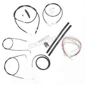 LA Choppers Black Vinyl Handlebar Cable and Brake Line Kit for Use w/15 in. - 17 in. Ape Hangers (w/o ABS) - LA-8140KT2-16B