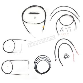 LA Choppers Black Vinyl Handlebar Cable and Brake Line Kit for Use w/12 in. - 14 in. Ape Hangers w/ABS - LA-8150KT2-13B