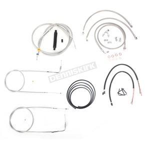 LA Choppers Stainless Braided Handlebar Cable and Brake Line Kit for Use w/15 in. - 17 in. Ape Hangers (w/ABS) - LA-8150KT2-16