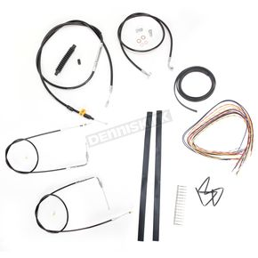 LA Choppers Black Vinyl Handlebar Cable and Brake Line Kit for Use w/12 in. - 14 in. Ape Hangers (w/o ABS) - LA-8210KT2A-13B