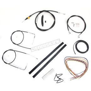 LA Choppers Black Vinyl Handlebar Cable and Brake Line Kit for Use w/15 in. - 17 in. Ape Hangers (w/o ABS) - LA-8210KT2A-16B