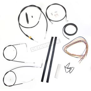 LA Choppers Black Vinyl Handlebar Cable and Brake Line Kit for Use w/18 in. - 20 in. Ape Hangers (w/o ABS) - LA-8210KT2A-19B
