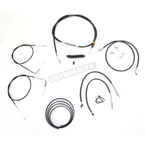 LA Choppers Black Vinyl Handlebar Cable and Brake Line Kit for Use w/Mini Ape Hangers w/o ABS - LA-8210KT2B-08B