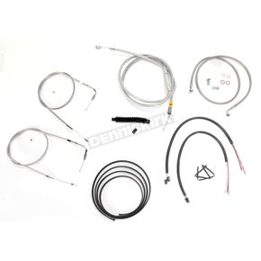 LA Choppers Stainless Braided Handlebar Cable and Brake Line Kit for Use w/12 in. - 14 in. Ape Hangers w/o ABS - LA-8210KT2B-13