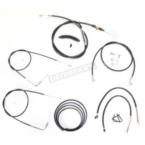 LA Choppers Black Vinyl Handlebar Cable and Brake Line Kit for Use w/15 in. - 17 in. Ape Hangers w/o ABS - LA-8210KT2B-16B