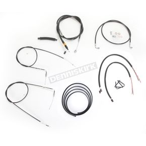 LA Choppers Black Vinyl Handlebar Cable and Brake Line Kit for Use w/15 in. - 17 in. Ape Hangers w/o ABS - LA-8220KT2-16B