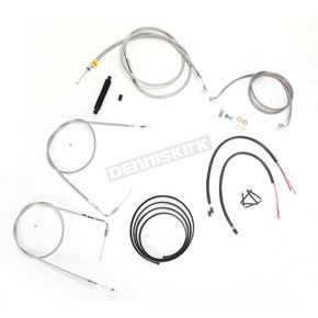 LA Choppers Stainless Braided Handlebar Cable and Brake Line Kit for Use w/18 in. - 20 in. Ape Hangers w/o ABS - LA-8220KT2-19