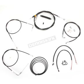 LA Choppers Black Vinyl Handlebar Cable and Brake Line Kit for Use w/18 in. - 20 in. Ape Hangers w/o ABS - LA-8220KT2-19B