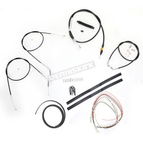 LA Choppers Black Vinyl Handlebar Cable and Brake Line Kit for Use w/12 in. - 14 in. Ape Hangers (Single Disc) (w/o ABS) - LA-8300KT2-13B