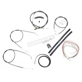 LA Choppers Black Vinyl Handlebar Cable and Brake Line Kit for Use w/18 in. - 20 in. Ape Hangers (Single Disc) (w/o ABS) - LA-8300KT2-19B