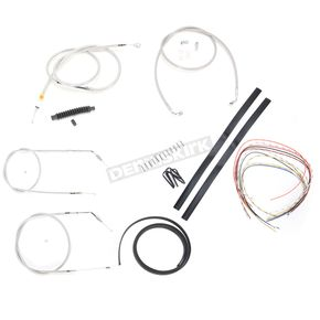 LA Choppers Stainless Braided Handlebar Cable and Brake Line Kit for Use w/Mini Ape Hangers (Single Disc) (w/o ABS) - LA-8310KT2-08