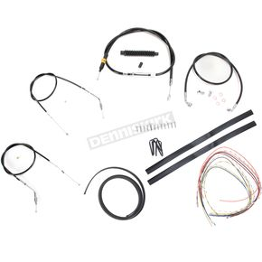 LA Choppers Black Vinyl Handlebar Cable and Brake Line Kit for Use w/Cafe Ape Hangers - LA-8310KT2-0CB