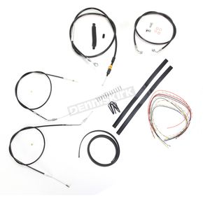 LA Choppers Black Vinyl Handlebar Cable and Brake Line Kit for Use w/12 in. - 14 in. Ape Hangers (Single Disc) (w/o ABS) - LA-8310KT2-13B
