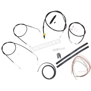 LA Choppers Stainless Braided Handlebar Cable and Brake Line Kit for Use w/15 in. - 17 in. Ape Hangers (Single Disc) (w/o ABS) - LA-8310KT2-16B